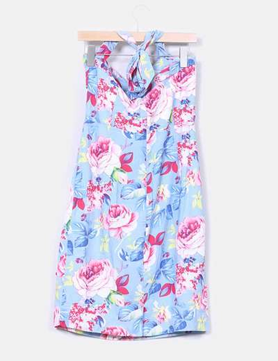 Vestido azul estampado floral anos 40