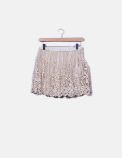 2db8829353 Zara Falda beige con tul bordado (descuento 57%) - Micolet