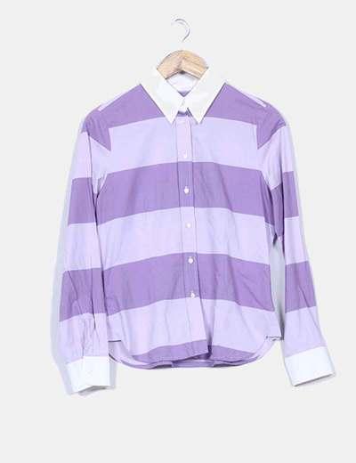 Camisa bicolor estampado rayas Cortefiel