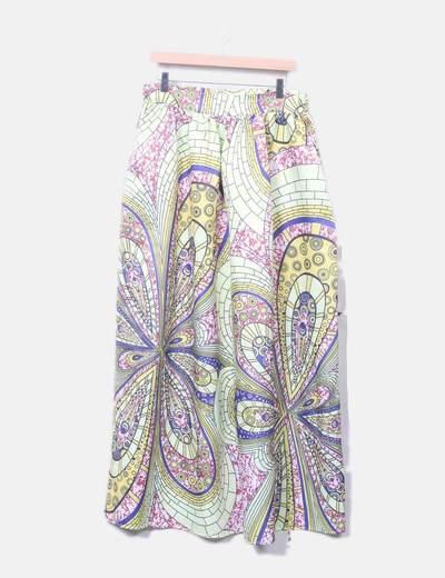 Maxi falda satinado estampado amarillo