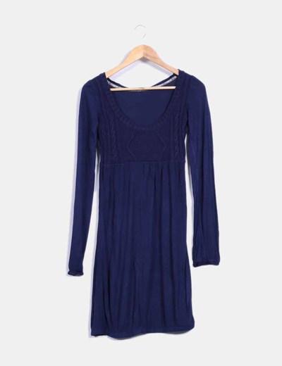 Vestido combinado con tricot azul NoName