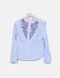 Camisa rayas bordado flores Forever 21