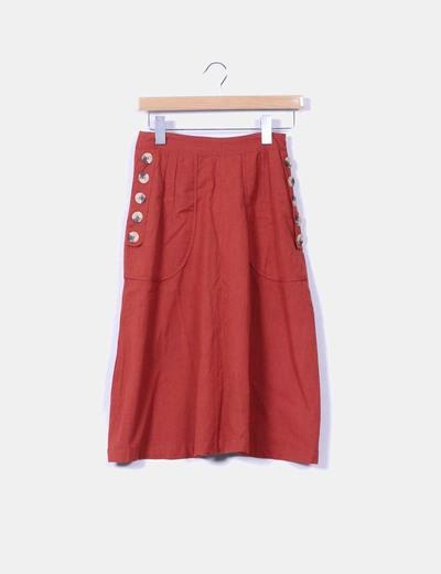 Falda midi color teja Topshop