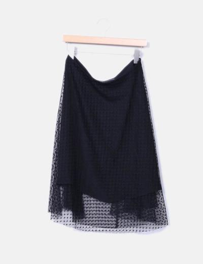 Zara Falda negra de tul con vuelo (descuento 68%) - Micolet 329fef82bd34