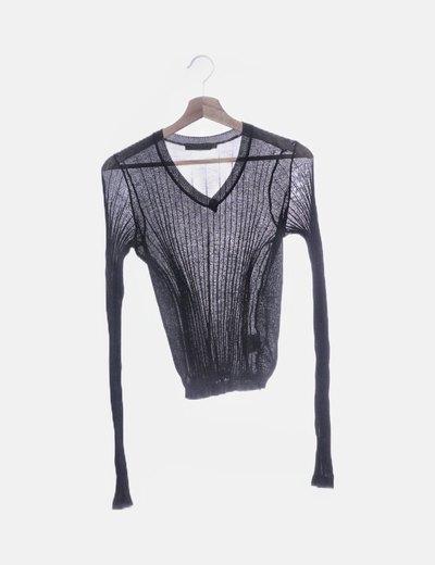 Jersey fino negro escote pico