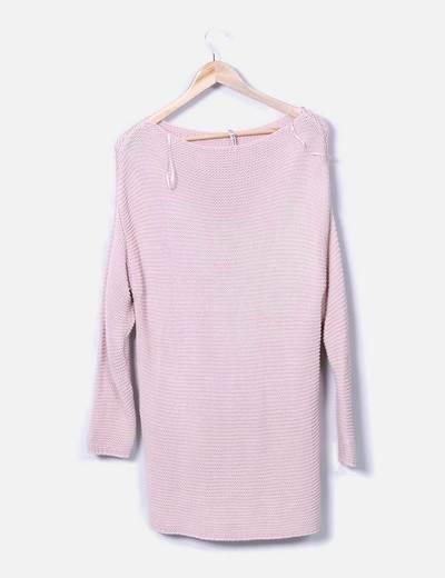 Jersey maxi de punto rosa palo