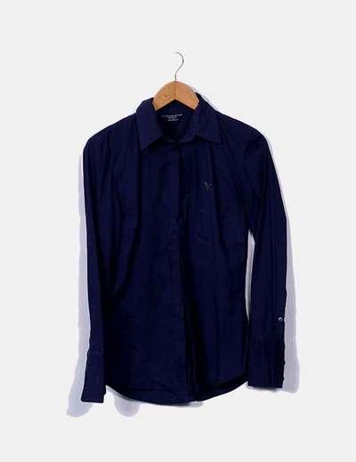 Camisa azul marina con strass Guess