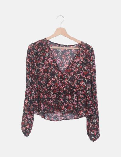 Blusa peplum negra print floral