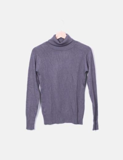 Jersey de punto gris con cuello vuelto