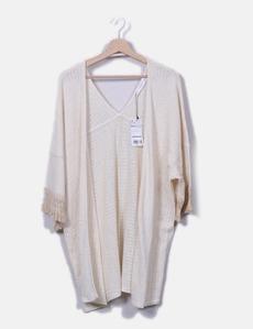Chaqueta tricot beige con flecos Mango c35c14657cbf