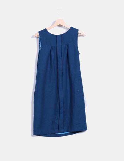 Vestido pichi pano azul petroleo con strass
