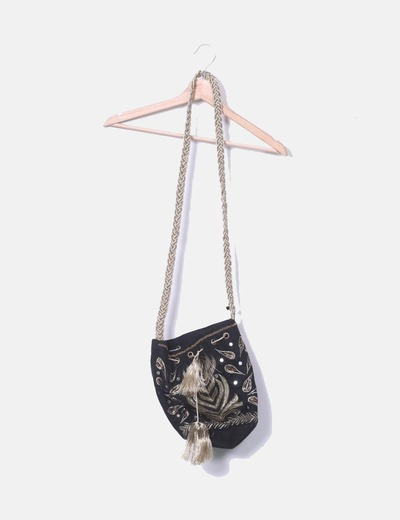 Sac noir paillettes de sac Bershka