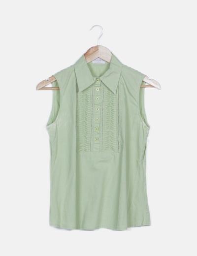 Blusa verde plisada sin mangas