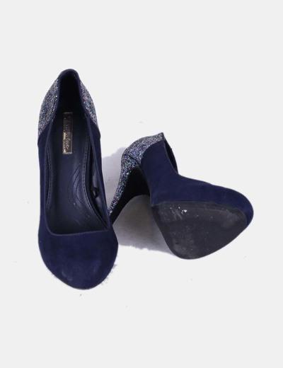 Zapatos azules marinos de ante con detalle brillantina