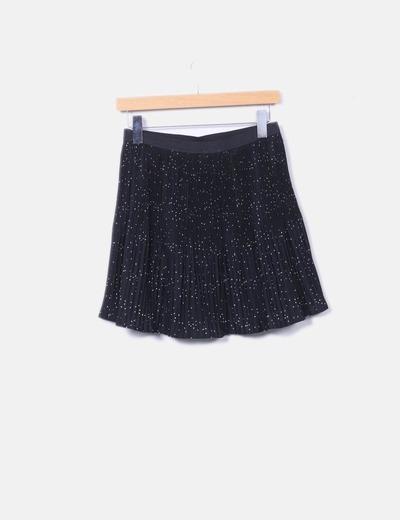 Falda plisada negra con estrellas