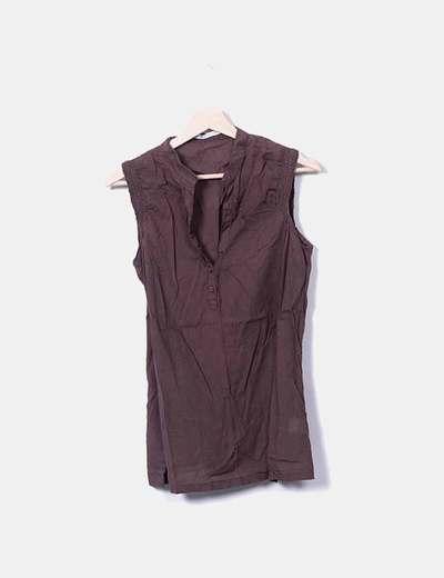 Blusa marrón de tirantes con elástico Easy Wear