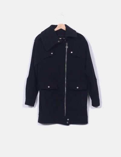 Abrigo negro de lana Blanco
