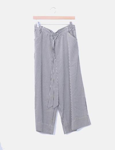 Pantalón culotte rayas negras