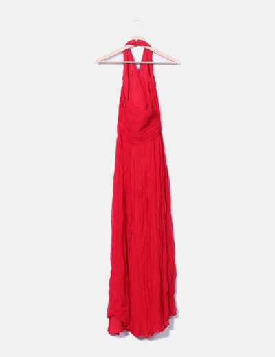 Vestido rojo de gasa fruncida