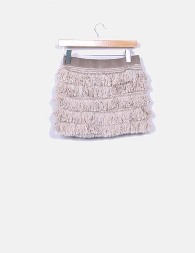 Mini falda flecos lana beige