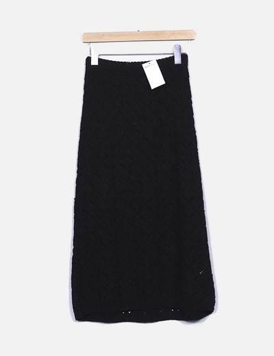 Falda larga de punto negra Suiteblanco