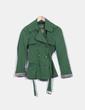 Trench corto verde con cinturón Zara