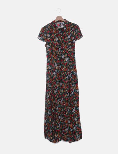 Maxi vestido floral abotonado