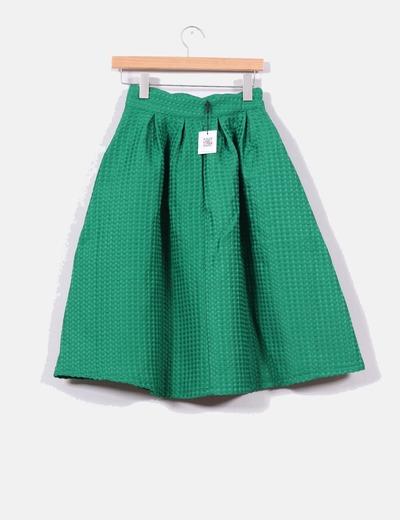 84f1bbb97 Falda midi verde