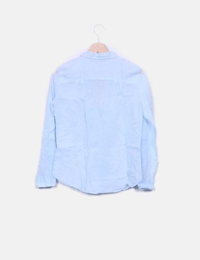 Blusa azul detalles plisados