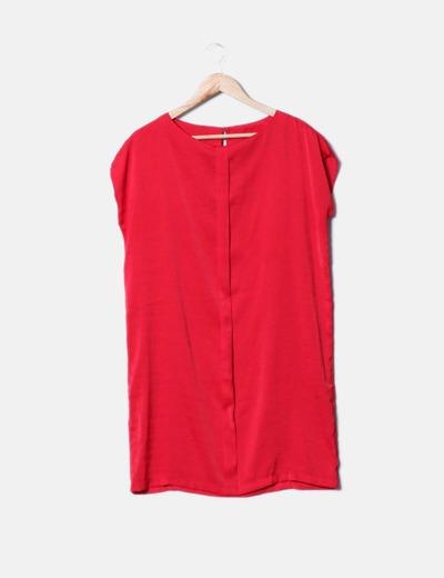 Vestido saten rojo Mango