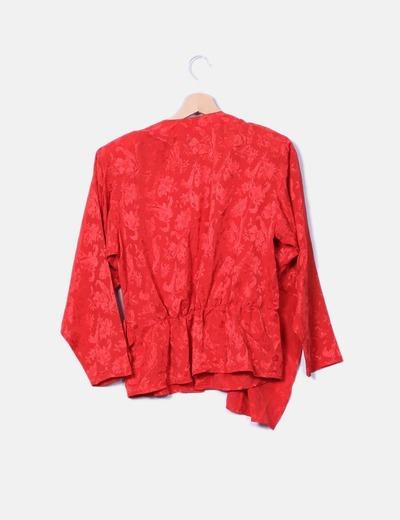 Blusa peplum roja floral