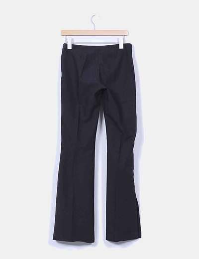 Pantalon negro de pinza bordado lateral