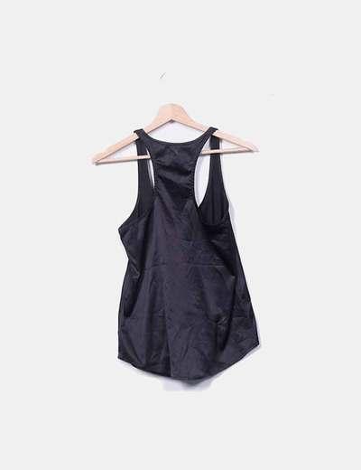 4dc8a791e Mango Camiseta de tirantes satinado negro (descuento 70%) - Micolet