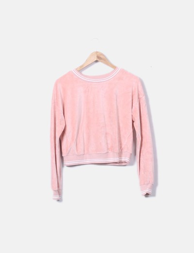 Sudadera crop rosa terciopelo Bershka