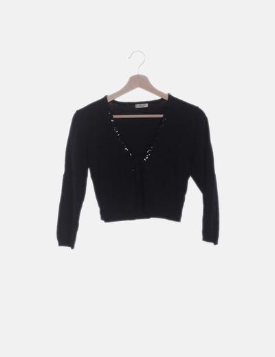 Torera tricot negra con paillettes