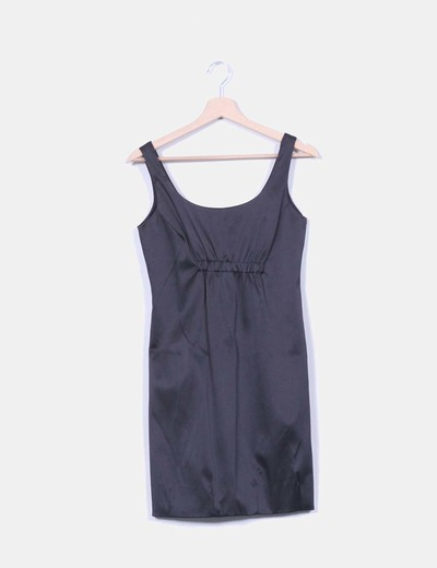 Vestido negro satinado Zara