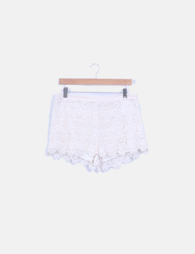 Short crochet blanco