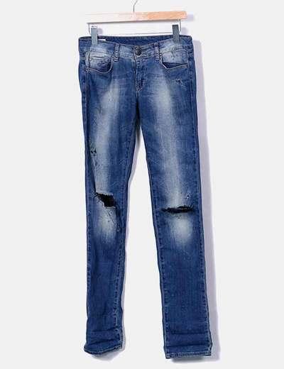 Jeans denim pitillo efecto desgastado Used jeans