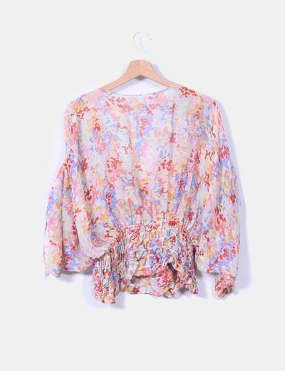 Blusa seda floral cintura elastica