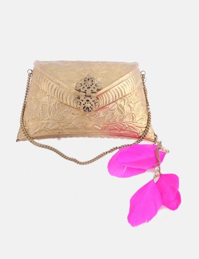Bolso joya dorado con plumas