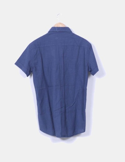 Camisa lino azul marino manga corta