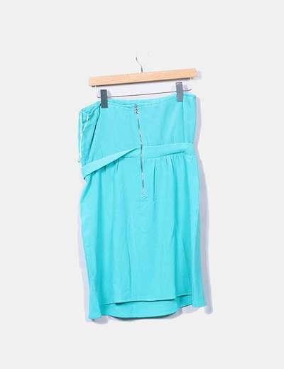 Vestido Azul Turquesa Palabra De Honor