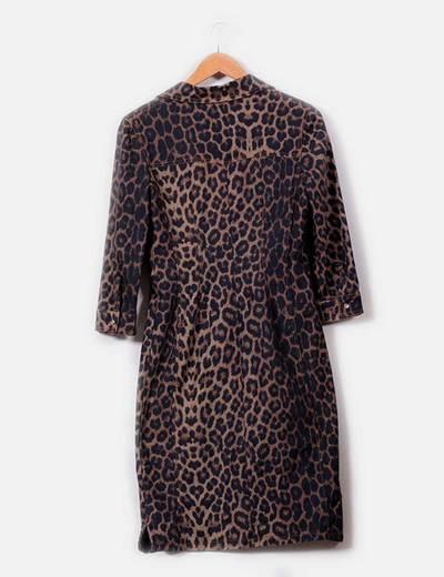 8396ef5fb128 Maxi vestido camisero print leopardo