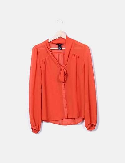 Chemise orange à ruban H&M