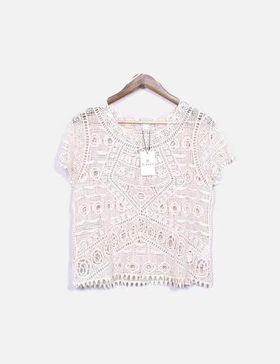 Camiseta beige semitransparente Suiteblanco