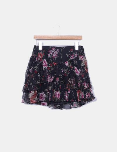 Minifalda floral con volantes Pedro del Hierro