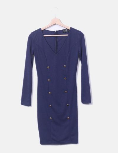 Vestido midi azul marino con botones AX Paris