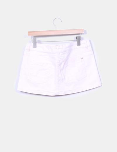 Mini falda denim rosa palo