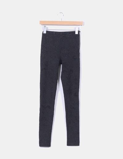 Fermeture à glissière leggings en velours paillettes noir Topshop