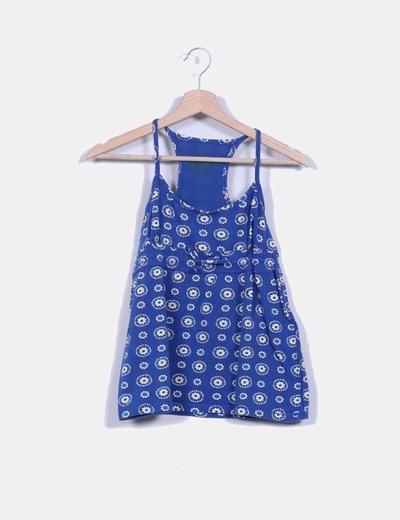 Top azul floral Pull&Bear